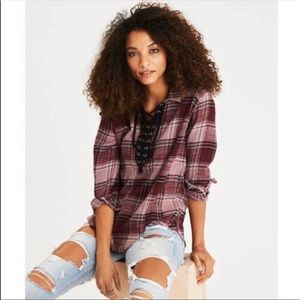 American Eagle Lace up Pull over Flannel